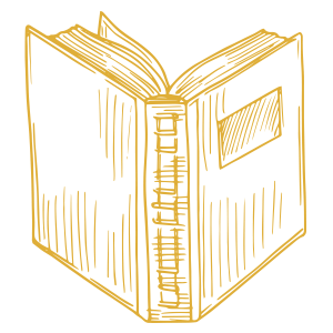 sketch of a dictionary book for Marketing Binder marketing dictionary page