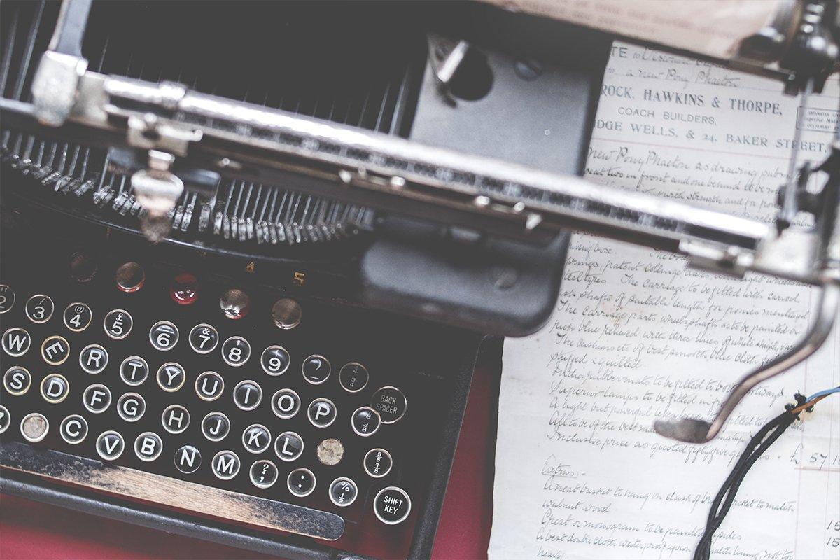 Write for Marketing Binder Page Header Image of old typewriter