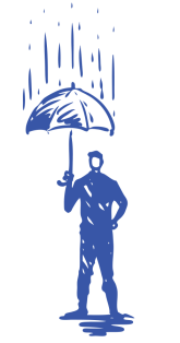 illustration of man holding umbrella while it rains