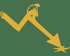 illustration of business man sitting on downward arrow