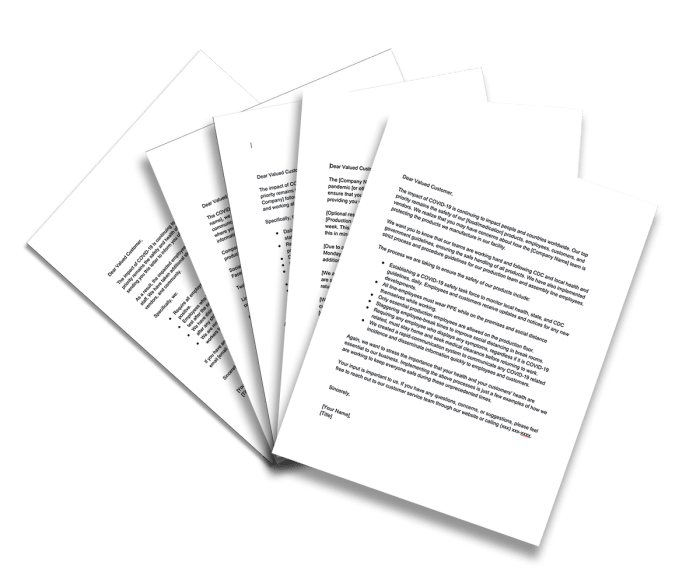 image of sampwe COVID-19 customer letters