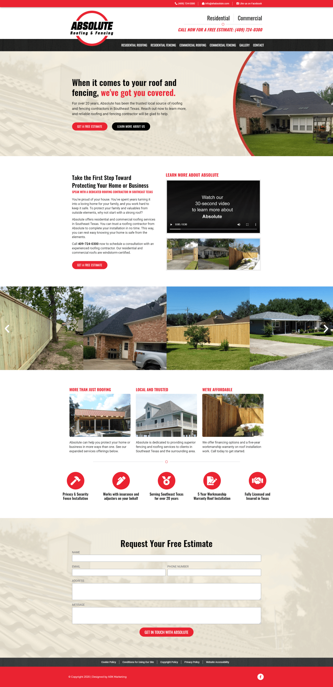 Absolute Roofing homepage