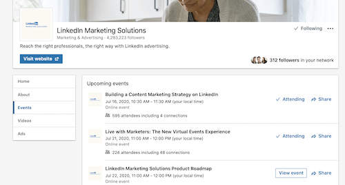 LinkedIn Events Tab