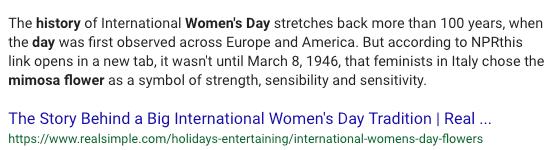 flower for international women's day