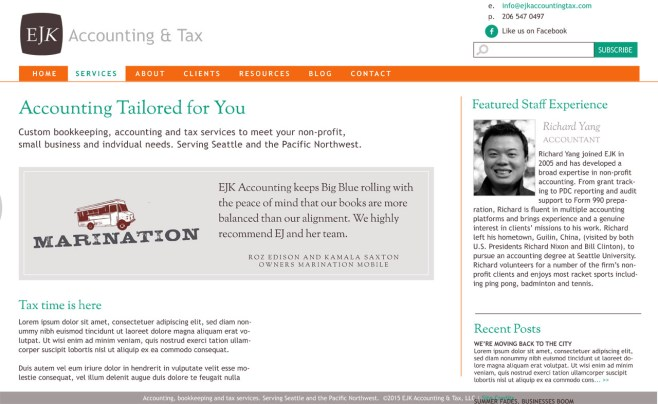 custom accounting website for EJK Accounting & Tax