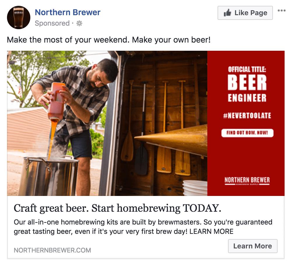 Facebook Paid Social Northern Brewer Ad Dark Posts