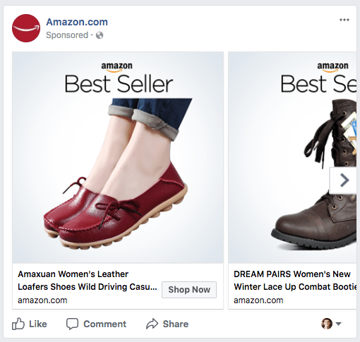 Facebook Carousel Example Amazon