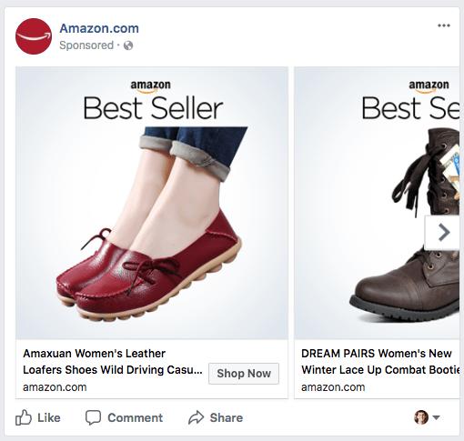 Facebook Carousel Example Amazon