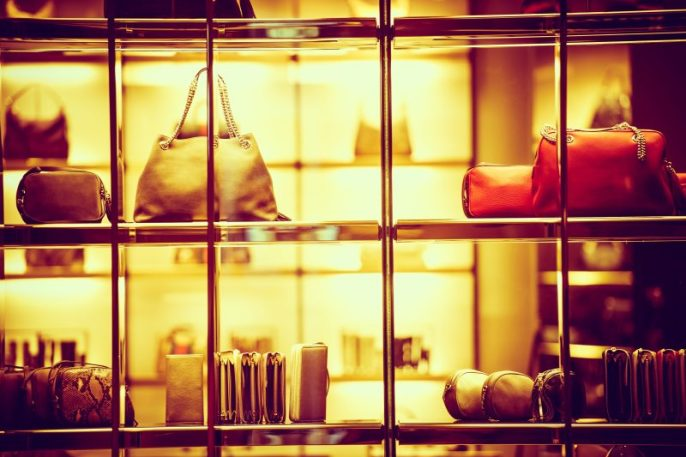 Luxury Goods Shopping. Luxury Purse Products For Woman. Store Front Closeup. - Depostitphotos.com