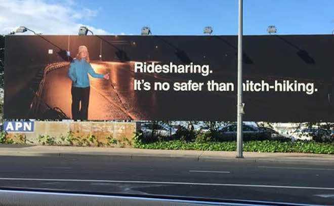 This is a billboard in NSW, I couldn't find a picture of the Melbourne billboards. However, the sentiment is the same.
