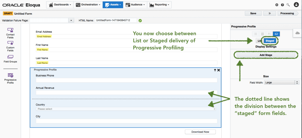 New progressive profiling Staged feature