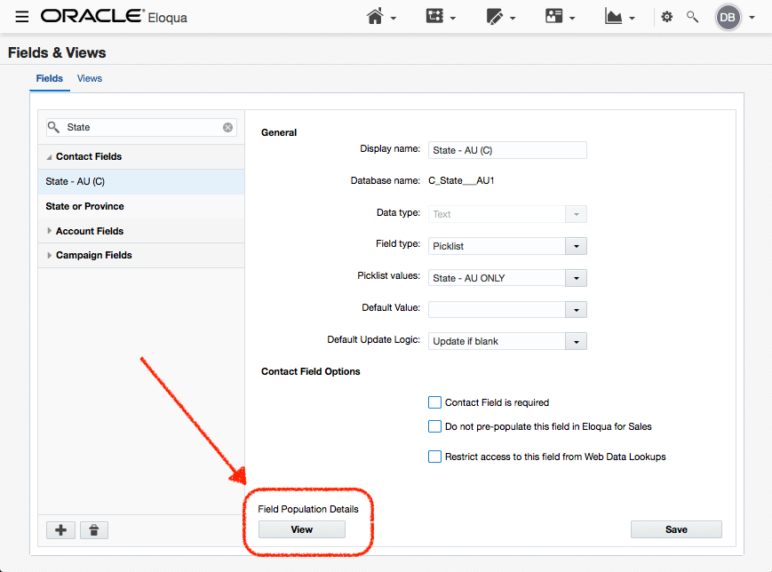 """Click on the Field Population Details """"VIEW"""" button once you've selected the field you want to inspect. Eloqua will only show you up to 1,000 variables. e.g. looking at First Name will not serve you well, however looking a field like """"State"""" is helpful."""