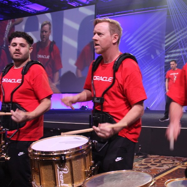 Drummers filled the 4,000 seating capacity ballroom at the Mandalay Hotel for the opening keynote.