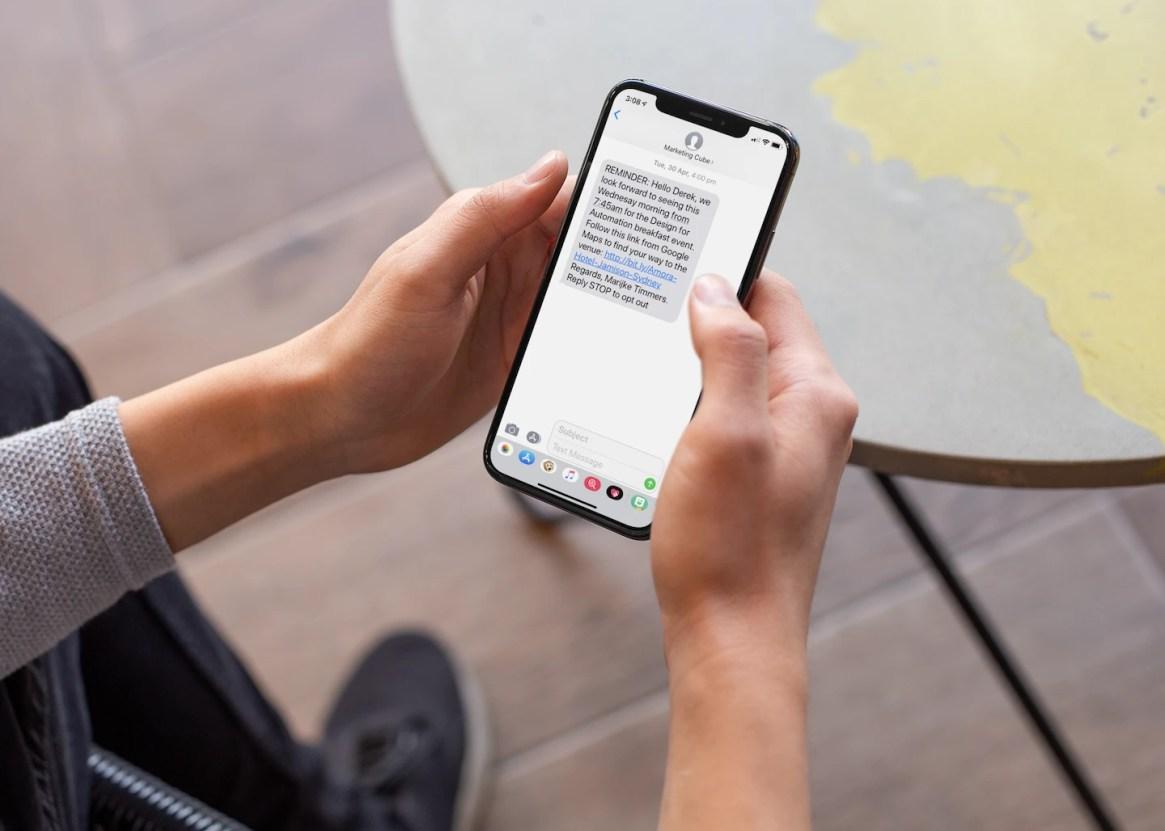 SMS displayd on iPhone 10 1440pxl