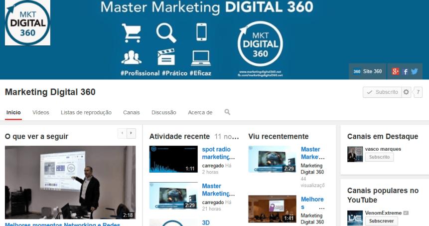 canal youtube master marketing digital 360