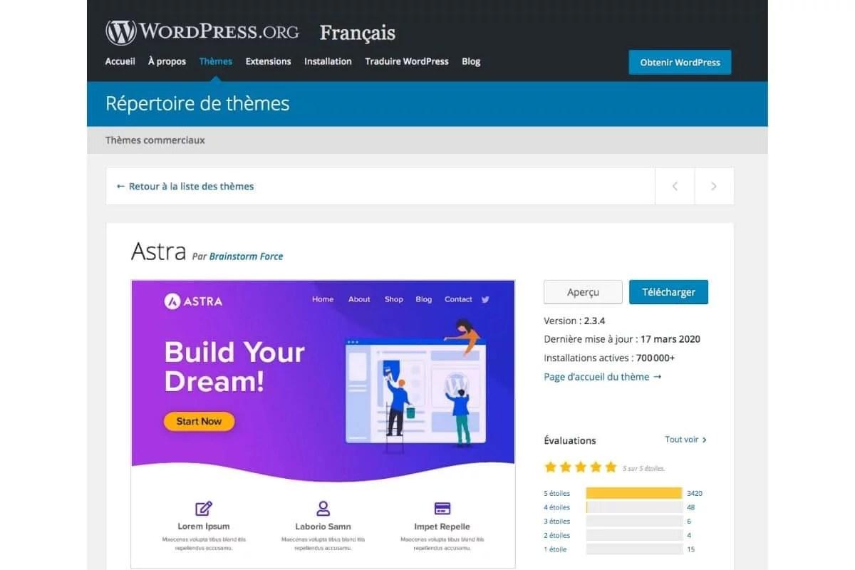 Le thème Astra pour WordPress