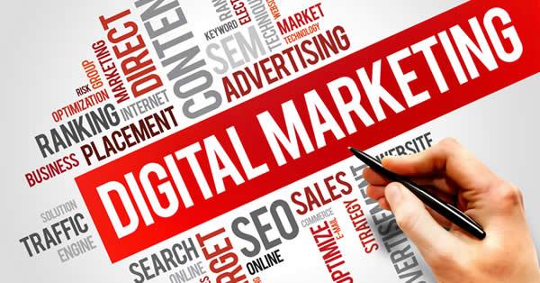 Nuvem de tags com os termos do marketing digital em inglês.