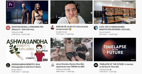 Exemplos de thumbnails sem destaque visual
