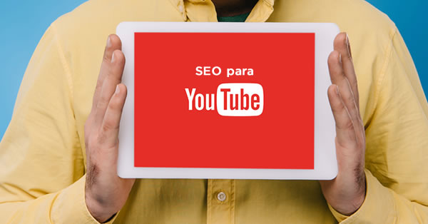 Tela de um tablet com a inscrição SEO para Youtube