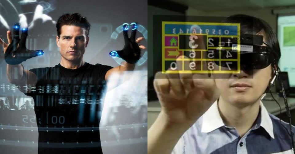 Cena do filme Minority Report para ilustrar as novas tecnologias no novo mercado: Tom Cruise utiliza computador sem tela com dados holográficos projetados no ar.