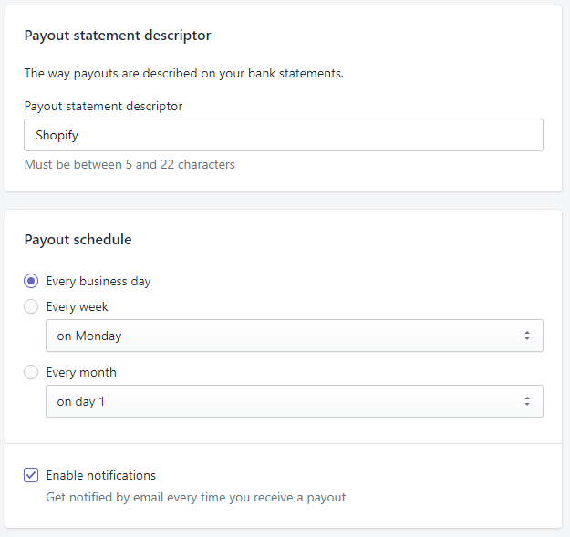 When are Shopify payouts?