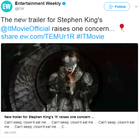 IT Movie Tweet from Entertainment Weekly