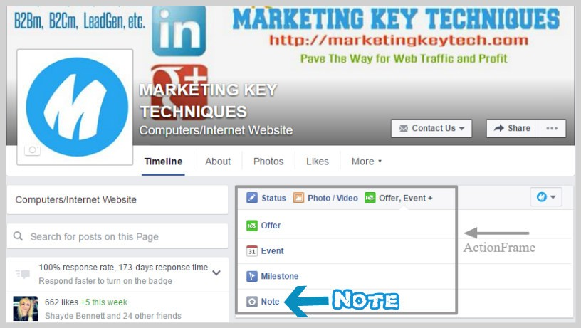 Facebook business page marketing Note