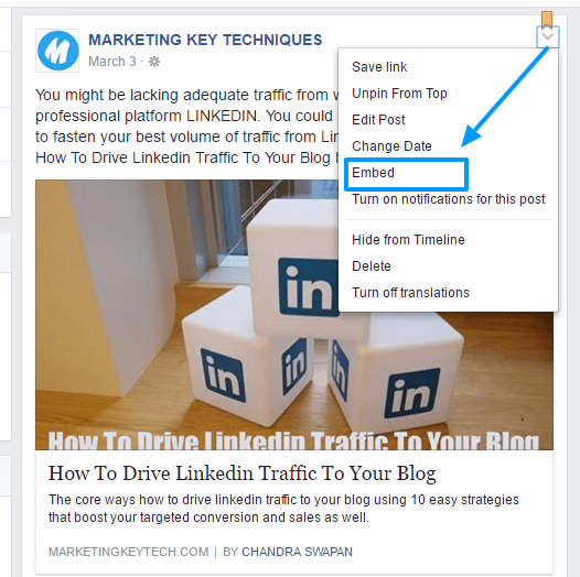 Embed post FB business promotion