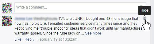 Hide negative comments on Facebook.