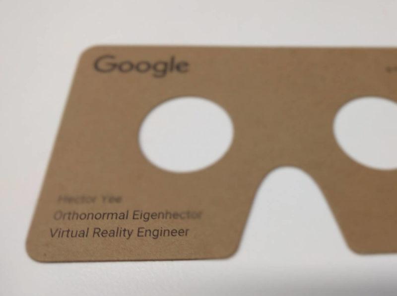 Google Cardboard business card