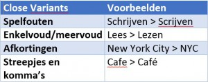 Voorbeelden Close Variants Google Adwords