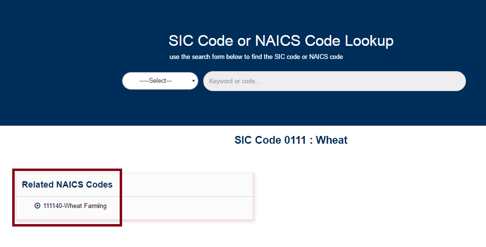 The Result Thus Obtained Is Your Industry SIC/ NAICS Code