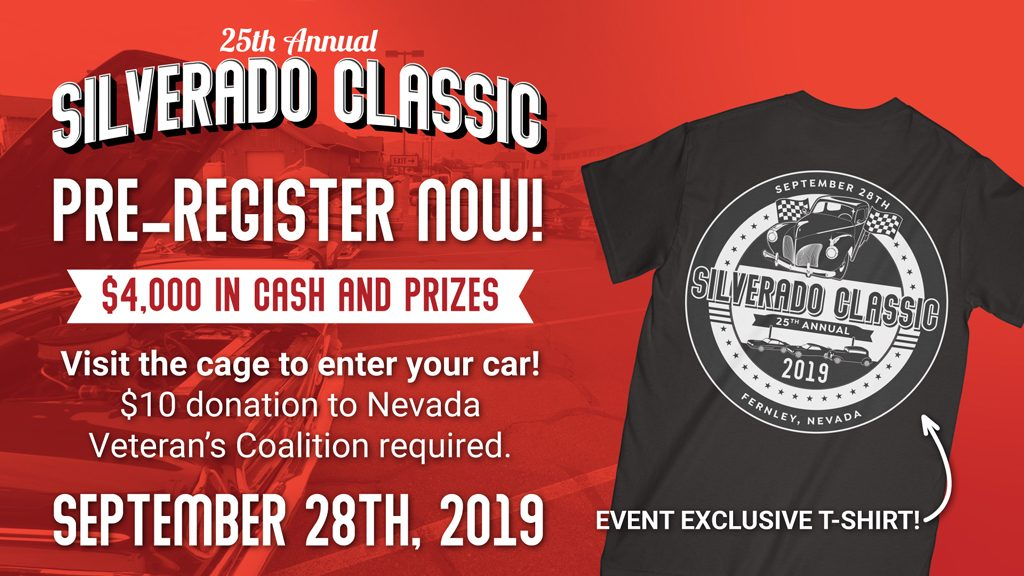 Image advertises pre-registration for the 25th Annual Silverado Classic car show. The background shows a vintage car and a t-shirt design for the event.