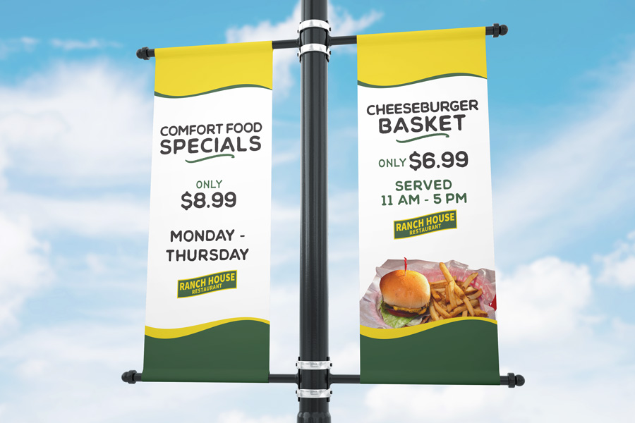 Outdoor parking lot banner