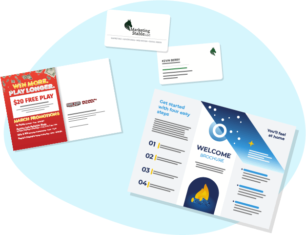 """A business card, brochure, and mailer are scattered around. The business card features a horse head silhouette on the front and information on the back. The direct mailer has a red background and reads """"Win More, Play Longer!"""" The brochure is unfolded and features a night sky gradient and a campfire with information."""