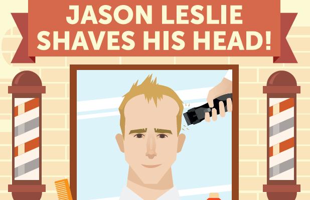 Jason Leslie head shave for The Christie