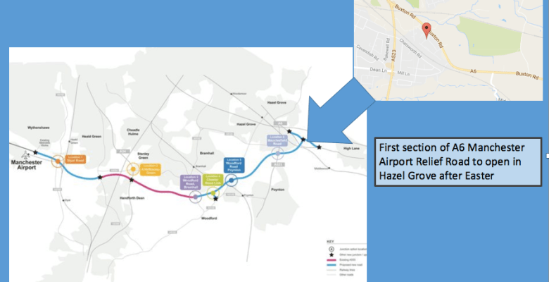 First section of A6 Manchester Airport Relief Road opens in Hazel Grove after Easter