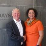 Michelle Hay with Hallidays Managing Director Nigel Bennett