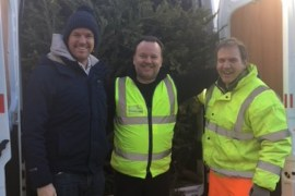 St Ann's Recycle Christmas Tree Collection l-r Mark Heppell, Nick Hinton, Andrew Smith.