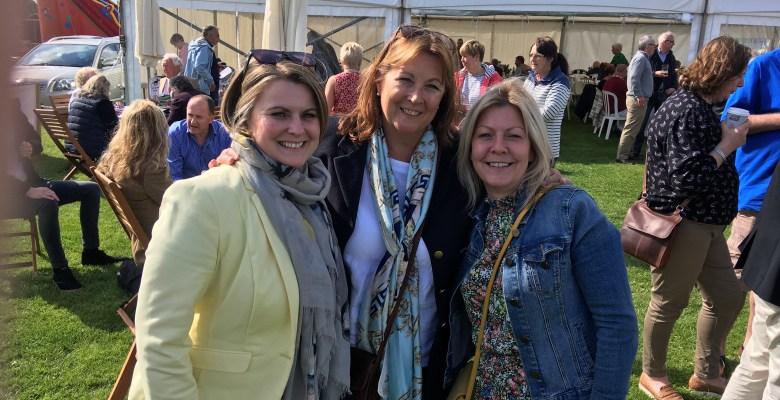 Handelsbanken's Lisa Dobson and Liz Williamson with Marketing Stockport's Helen White centre at Knutsford Races