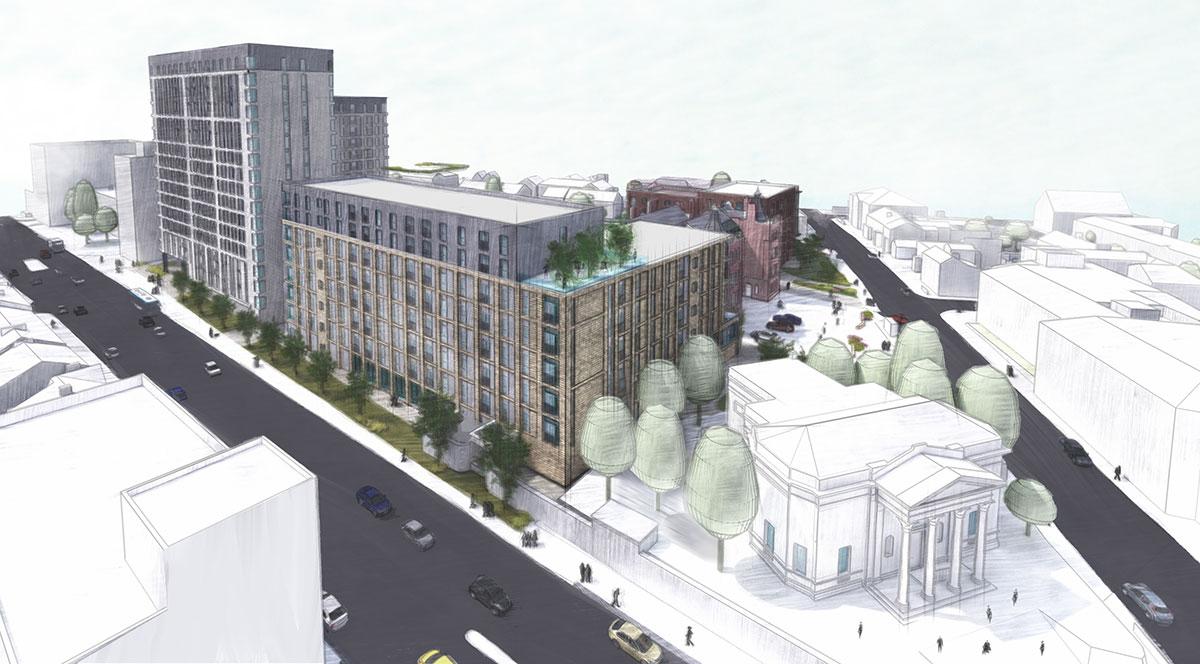 royal george village proposal for regeneration of former stockport college buildings