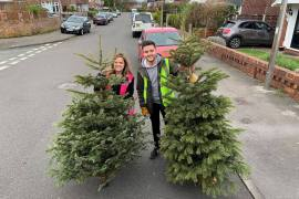 Lucy Leeming and Sam OReilly at last years Christmas tree recycling collection