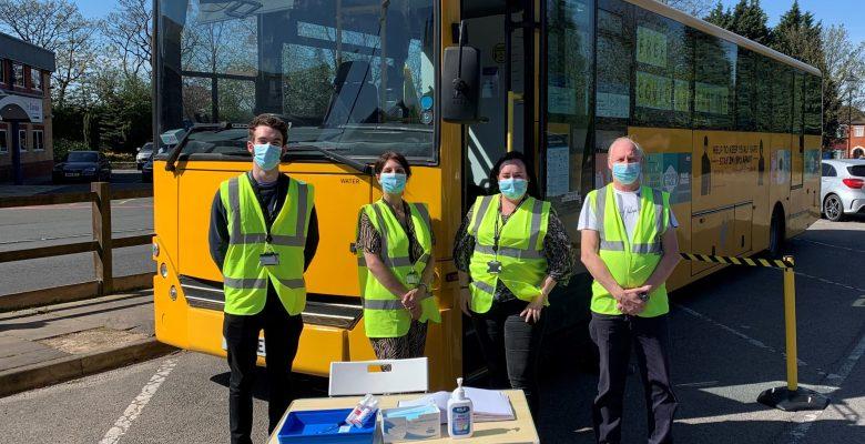 TfGM donate school bus to boost coronavirus testing in Stockport