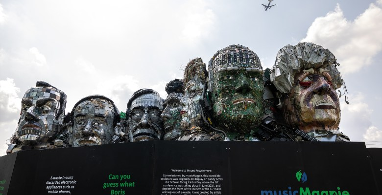 Mount Recyclemore is unveiled outside the Stockport headquarters of recommerce company musicMagpie