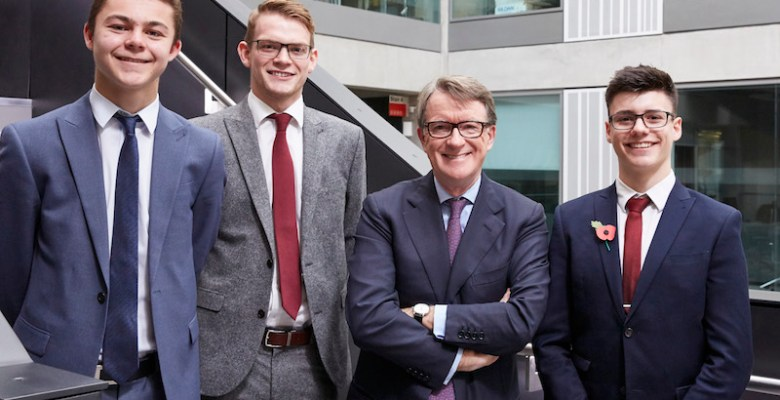SAS Daniels Stockport Legal Apprentices Darren Smith, Jack Kelly and Tom Pollock with Lord Mandelson