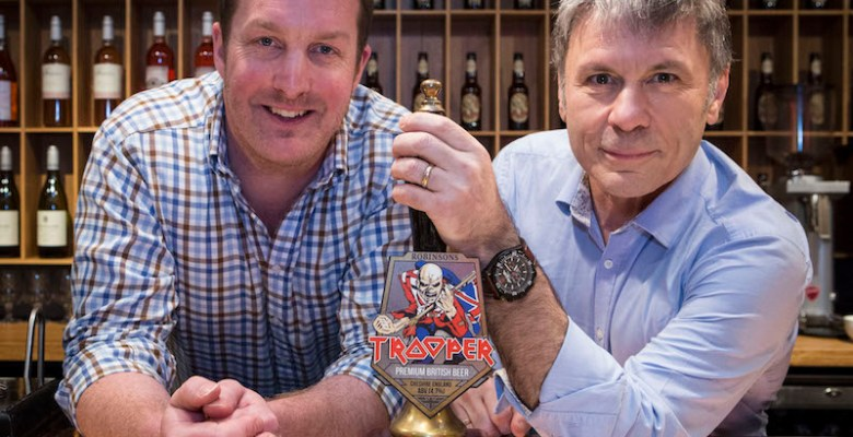 Bruce Dickinson and John Robinson unveil the new TROOPER beer pump clip