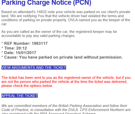 email parking fines - a scam