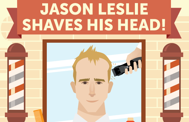 Jason Leslie head shave for The Christie