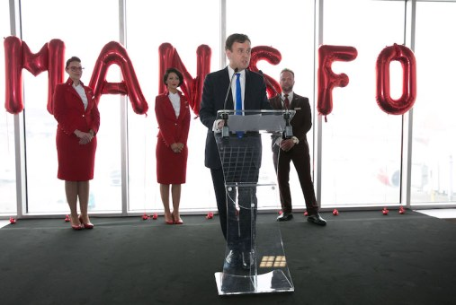 Rt Hon Greg Hands MP speaking at inaugural SFO flight Manchester