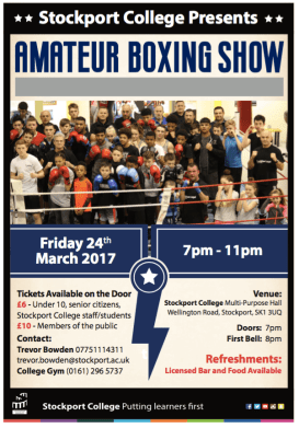 Stockport College Amateur Boxing event